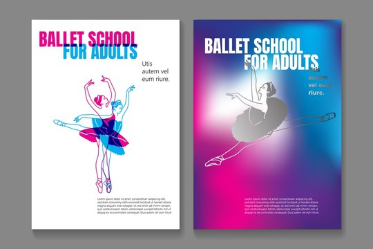 Bundle of poster or flyer templates for ballet school or studio for adults with elegant dancing ballerinas wearing tutu and place for text on white background. Vector illustration for advertisement.