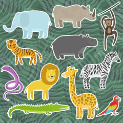 Cute cartoon flat tropical and jungle animals stickers. Childish illustration of savanna or safari animal for kids book design, stickers, educational and fun games, print, coloring books, mobile apps