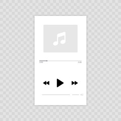 Wall Mural - Media player. Mobile music player vector icon illustration flat design. Isolated on transparent background.