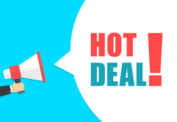 Male hand holding megaphone with hot deal speech bubble. Loudspeaker. Banner for business, marketing and advertising. Vector illustration.
