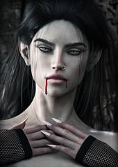 Seductive blood thirsty Vampire female . 3d rendering