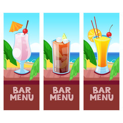 Beach bar menu vector design template with place for text. Summer tropical background.