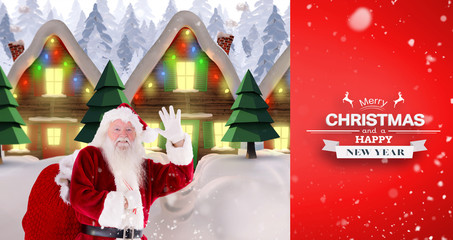 Santa delivery presents to village against red vignette