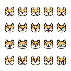 Color line icon set of Corgi Dog Emoji Emoticon Expression. Pixel perfect icons
