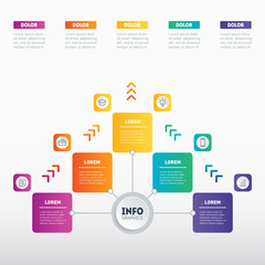 Business presentation concept with 5 options. Web Template of a sales pipeline, purchase funnel, info chart or diagram. Vector infographic of technology or education process with 5 steps.