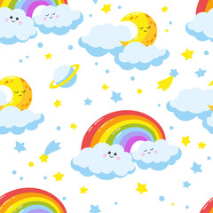 Seamless pattern with cute cartoon clouds, crescents and rainbows.
