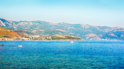 Beautiful panoramic landscape of Budva riviera