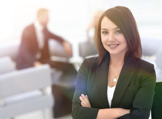 portrait of confident business women on blurred background office
