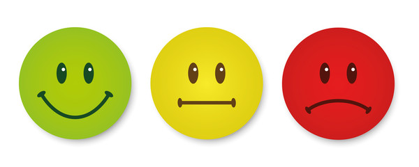 Three smileys green, yellow and red. Emoticons positive, neutral and negative illustration. Vector