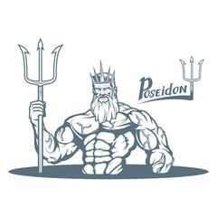 Poseidon. Hand drawn poseidon. Neptune head. Fantasy world. Vector artwork.