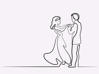 Continuous line drawing. Loving couple bride and groom on white background. Vector illustration. Concept for logo, card, banner, poster, flyer