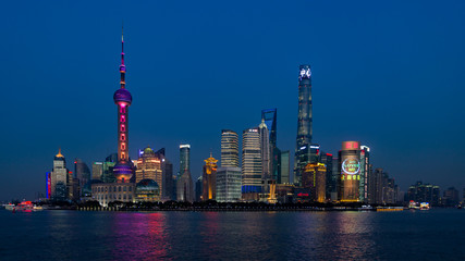 illuminated shanghai at night