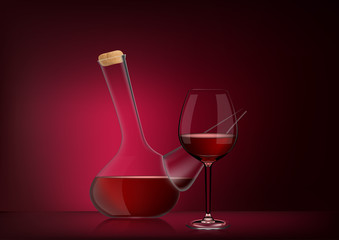 Vector illustration in photorealistic style. The image of a realistic glass transparent national spanish vessel with wine and full glass on red dark background. Serving wine with decanter
