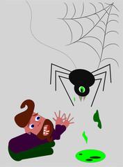Ängstlicher Mann mit Spinne und Spinnennetz