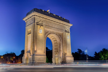 The Triumphal Arch (Arcul de Triumf) landmark in Bucharest, Romania. Bucharest, the capital of Romania. Historic monument