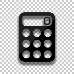 simple calculator icon. Black glass icon with soft shadow on transparent background