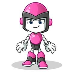 robot humanoid woman mascot vector cartoon illustration