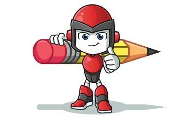 robot humanoid holding big pencil america vector cartoon illustration