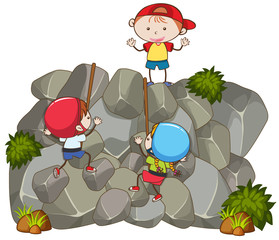Doodle Kids Doing Rock Climbing