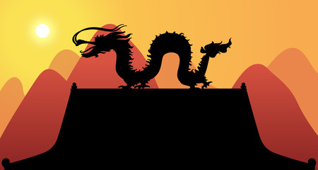 Silhouette Dragon with Mountain Background