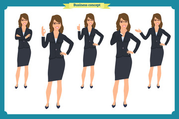 Set of Businesswoman character design with different poses. Illustration isolated vector on white in flat cartoon style. Women in office clothes. Business people.