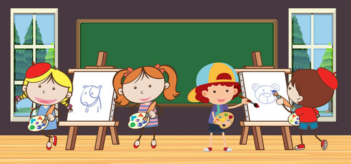 Kids in Drawing Class at School
