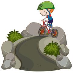 Young Boy Riding Mountain Bike