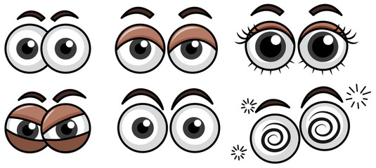 Six Diffrent Eyes Expression on White Background