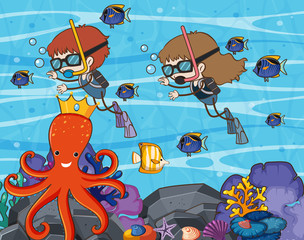 Scuba Diving in Underwater World