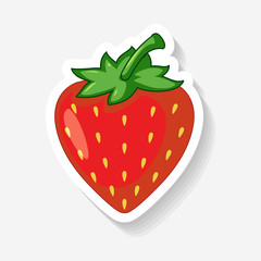 Strawberry Sticker on White Background