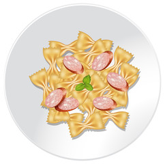 Farfalle Pasta with Sausage on Dish