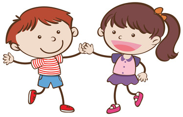 Boy and Girl are Dancing on White Background