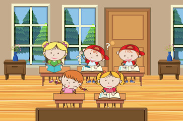 Student are Studying in Classroom