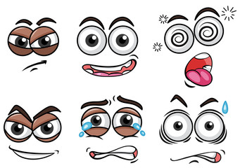 Expression and Emotion Faces on White Background