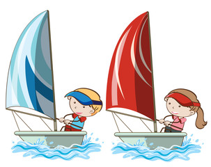 Boy and Girl Sailboat in Ocean