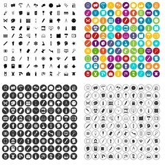 100 paint icons set vector in 4 variant for any web design isolated on white