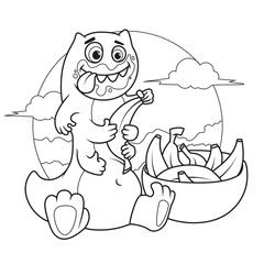 Funny green monster is eating bananas. Coloring book page. Line Art
