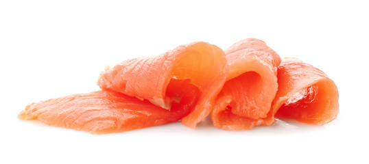 Fresh sliced salmon fillet on white background