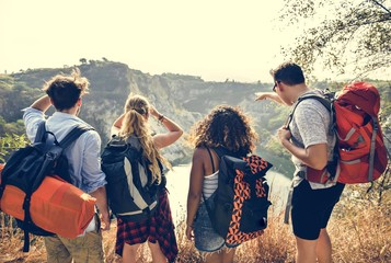 Backpackers on an adventure Wall mural