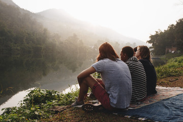 Group of friends enjoying the nature