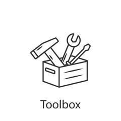 Toolbox vector icon icon. Simple element illustration. Toolbox vector icon symbol design from Construction collection set. Can be used in web and mobile
