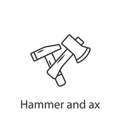 Hammer and Ax icon icon. Simple element illustration. Hammer and Ax icon symbol design from Construction collection set. Can be used in web and mobile