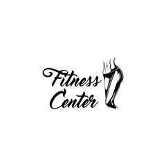 Muscular female body. Fitness center label emblem logo. Athletic women. Vector.