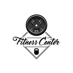 Barbell disks, Kettlebell. Fitness center label logo emblem. Sport equipment. Vector.