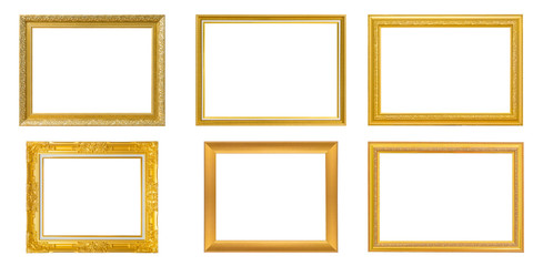 Set of 6 Gold frame for painting or picture on white background