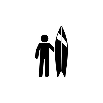 surfer icon. Element of holiday at sea illustration. Premium quality graphic design icon. Signs and symbols collection icon for websites, web design, mobile app