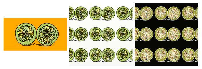 A set, of a pop art composition. With psychedelic colors repeated motif, with drawn,a slice of lemon