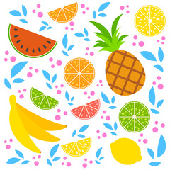 A set of colored insulated delicious fruits on a white background. Bright tropical food. Lime, lemon, grapefruit, orange, pineapple, banana, watermelon. Simple flat vector illustration.