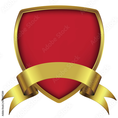 Shield Guard Logo Design With Gold Ribbon Stock Image And