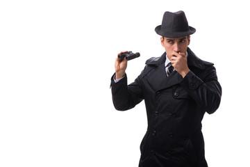 Spy with binoculars isolated on white background